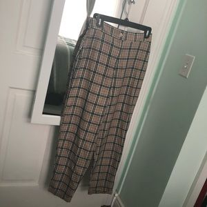 Nasty Gal Check Print Tapered Pants